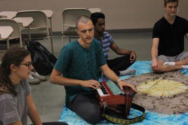 Bhakti yoga involves mantra mediation with music